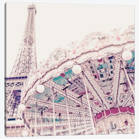 Eiffel Tower Carousel Light Canvas Print #RAB170} by Ruby and B Canvas Art