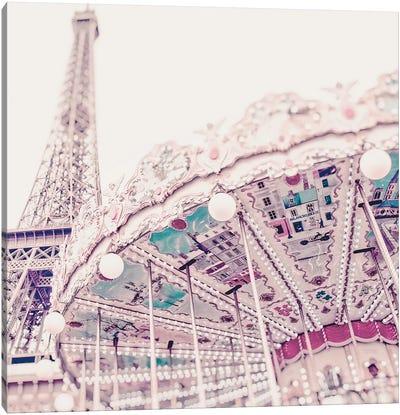 Eiffel Tower Carousel Light Canvas Art Print