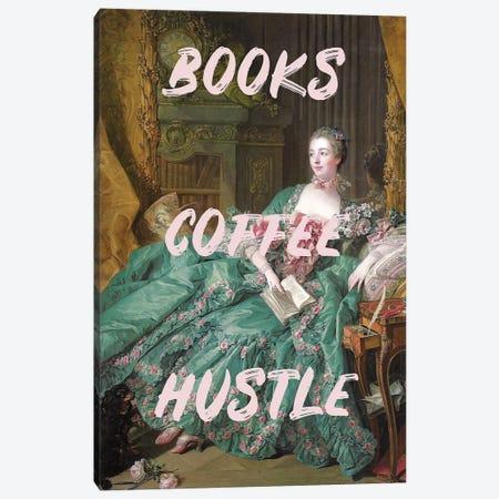 Books Coffee Hustle Canvas Print #RAB177} by Ruby and B Art Print