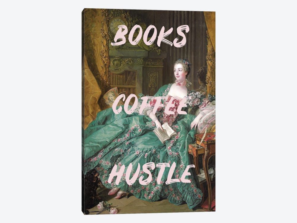 Books Coffee Hustle by Ruby and B 1-piece Canvas Art