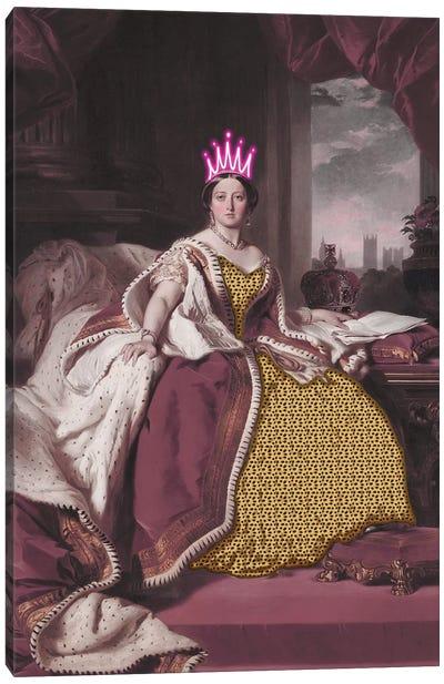 Queen Victoria With Neon Crown Canvas Art Print