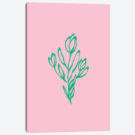Floral Pink Green Canvas Print #RAB212} by Ruby and B Canvas Art Print