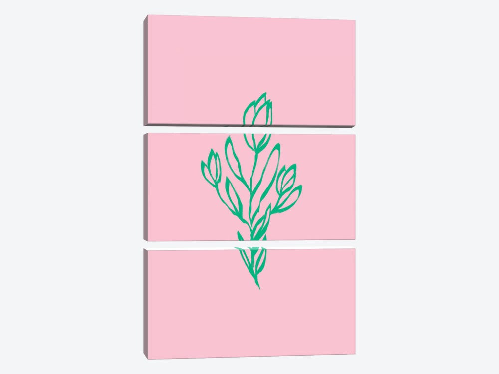 Floral Pink Green by Ruby and B 3-piece Canvas Print