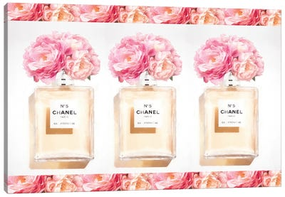 Three Perfume Bottles With Peony And Gold Canvas Art Print