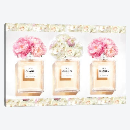 Three Floral Perfume Bottles Canvas Print #RAB231} by Ruby and B Art Print