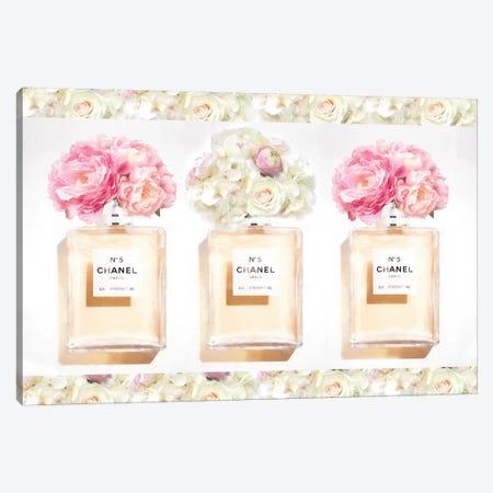 Three Floral Perfume Bottles Canvas Print #RAB231} by Ruby and B Art Print