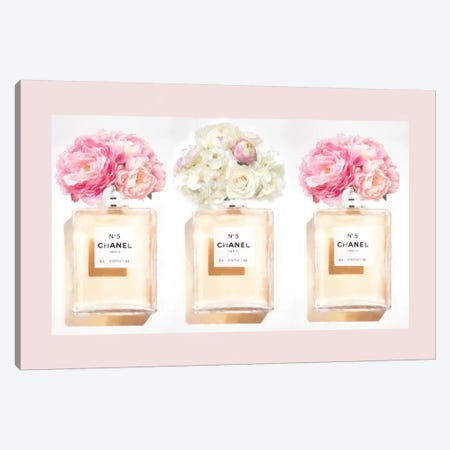 Blush Perfume Bottles Canvas Print #RAB232} by Ruby and B Art Print