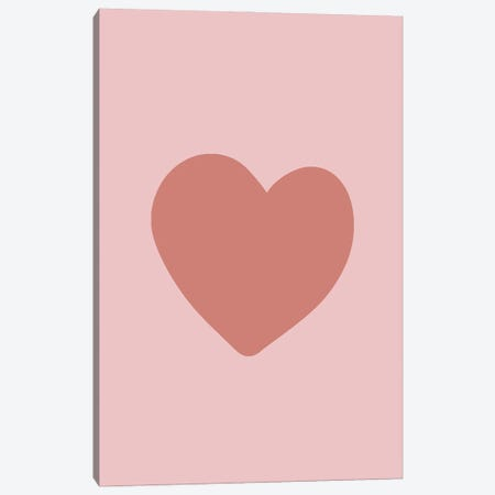 Terracotta Love Heart Canvas Print #RAB255} by Ruby and B Canvas Wall Art
