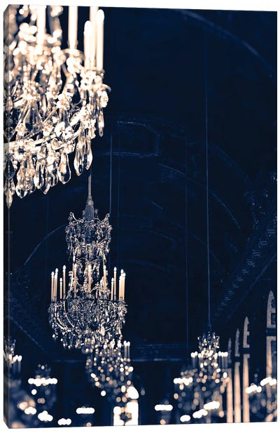 Gold Navy Chandelier Canvas Art Print