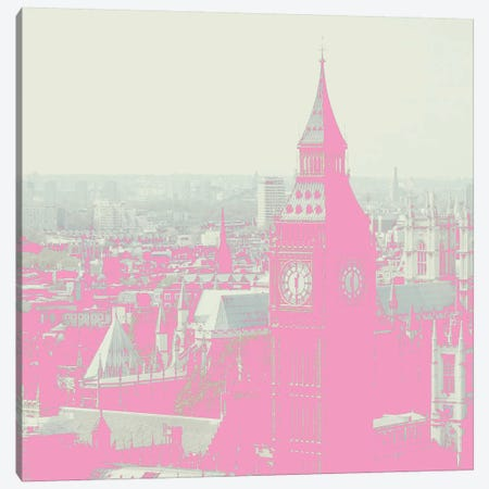 London In Pink Canvas Print #RAB35} by Ruby and B Canvas Artwork