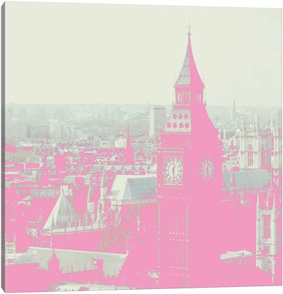 London In Pink Canvas Art Print