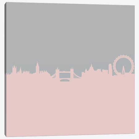 London Skyline In Pink And Grey Canvas Print #RAB36} by Ruby and B Canvas Art
