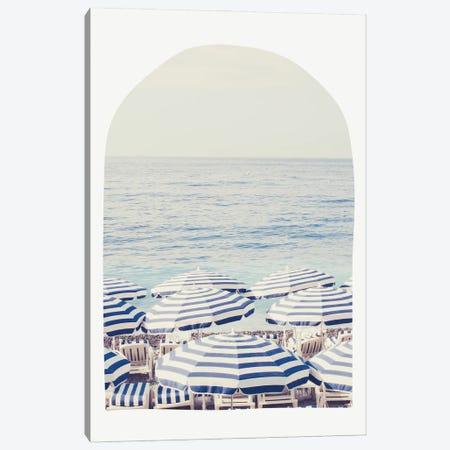 Blue And White Beach Umbrellas - Arch Canvas Print #RAB385} by Ruby and B Canvas Artwork