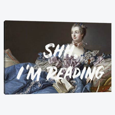Shh, I'm Reading Altered Art Canvas Print #RAB386} by Ruby and B Canvas Art
