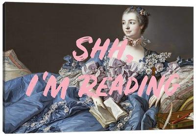 Shh, I'm Reading Altered Art - Pink Canvas Art Print