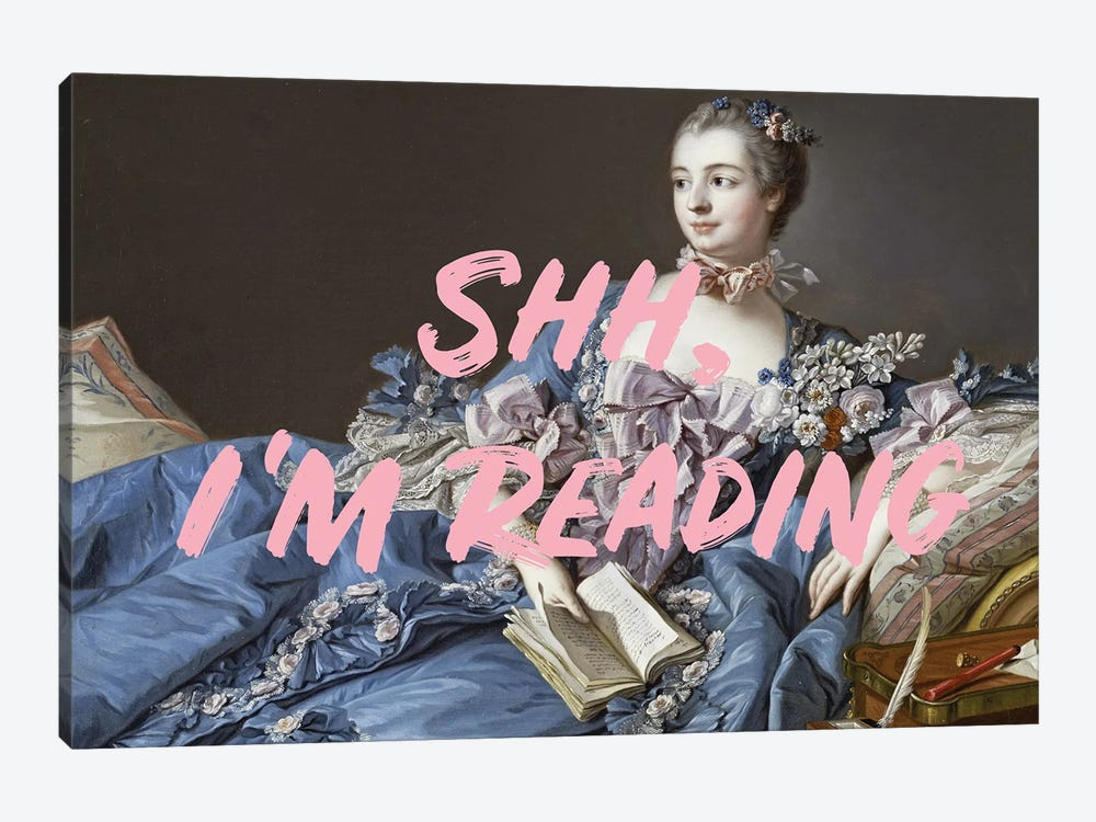 Shh, I'm Reading Altered Art - Pink by Ruby and B 1-piece Canvas Wall Art