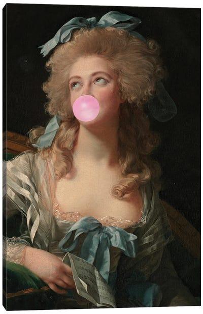 Bubble Gum Blowing Madame Canvas Art Print