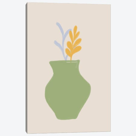 Green Scandi Vase Canvas Print #RAB440} by Ruby and B Canvas Wall Art