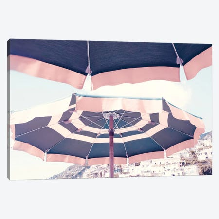 Positano Pink Umbrella Canvas Print #RAB62} by Ruby and B Canvas Wall Art