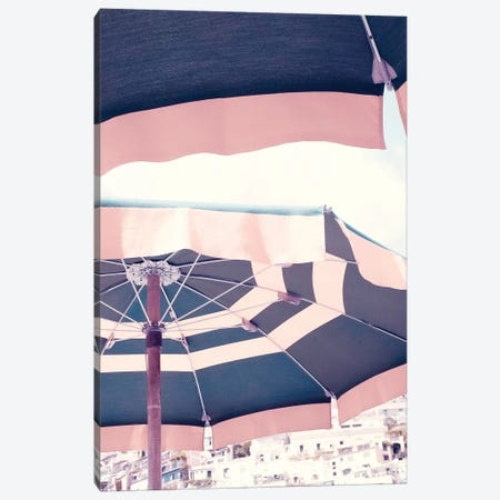 Positano Pink Umbrella II Canvas Print #RAB63} by Ruby and B Canvas Art