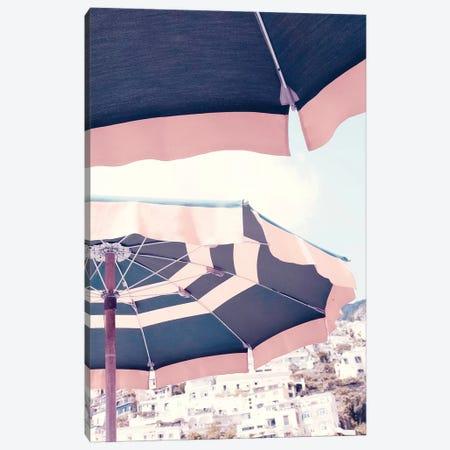 Positano Umbrella Pink Canvas Print #RAB64} by Ruby and B Art Print