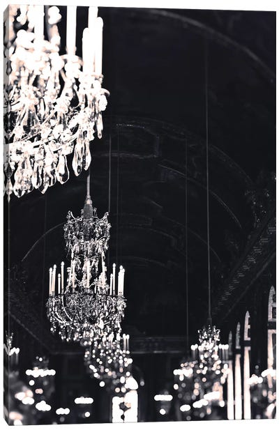 Chandelier Black Silver Canvas Art Print