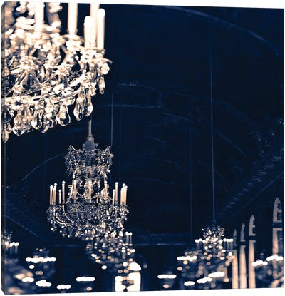 Chandelier Blue Jean Canvas Art Print