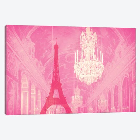 Chandelier Eiffel Tower Rose Canvas Print #RAB81} by Ruby and B Canvas Art