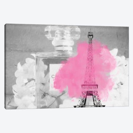 Paris Perfume Pink Splatter Canvas Print #RAB86} by Ruby and B Canvas Print