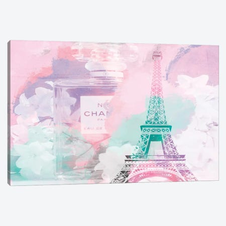 Perfume Pink Green Canvas Print #RAB89} by Ruby and B Canvas Artwork