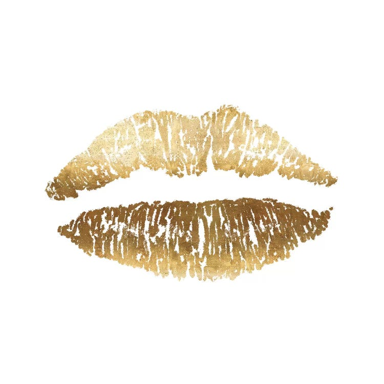 Gold Lips Print Canvas Wall Art By Ruby And B Icanvas