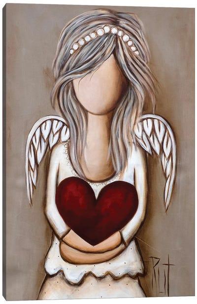 Girl Holding Red Heart Canvas Art Print