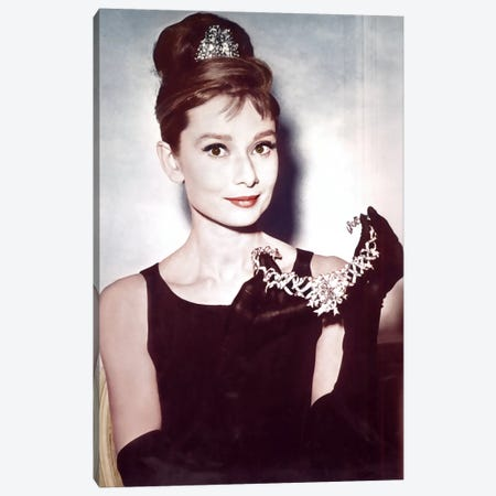 Audrey Hepburn Showing Necklace Canvas Print #RAD10} by Radio Days Canvas Print