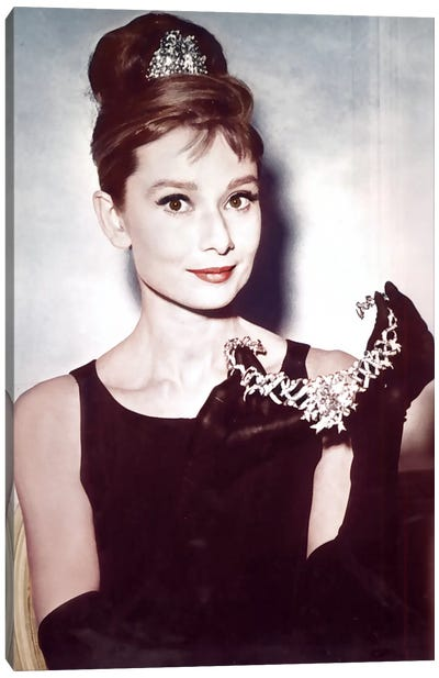 Breakfast At Tiffany's Series: Audrey Hepburn Showing Necklace Canvas Print #RAD10