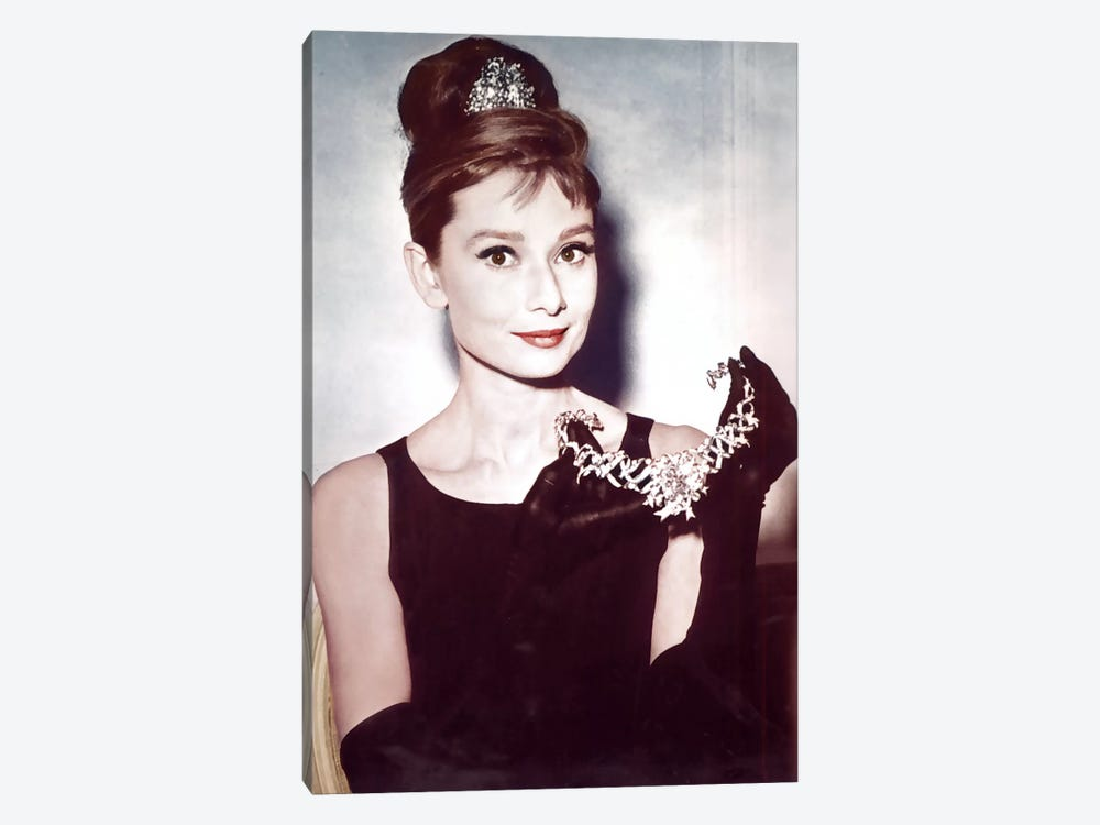 Audrey Hepburn Showing Necklace by Radio Days 1-piece Canvas Art Print