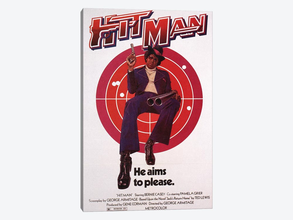 Hit Man Film Poster by Radio Days 1-piece Canvas Wall Art