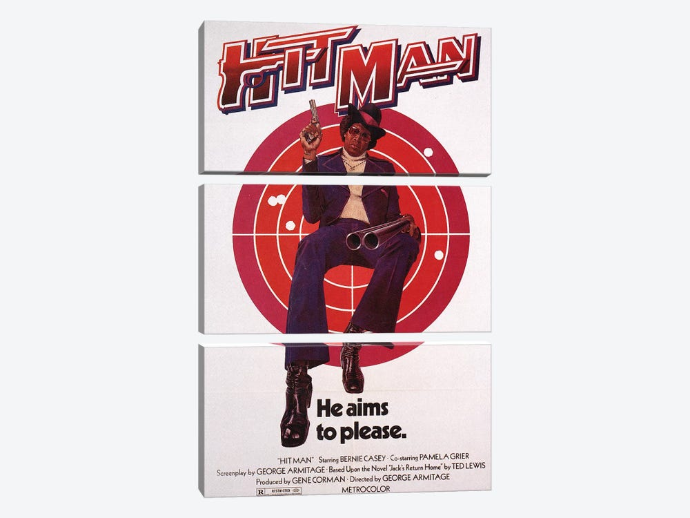 Hit Man Film Poster by Radio Days 3-piece Canvas Art