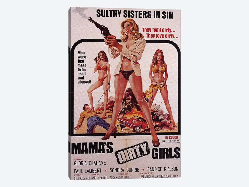 Mama's Dirty Girls Film Poster by Radio Days 1-piece Canvas Wall Art