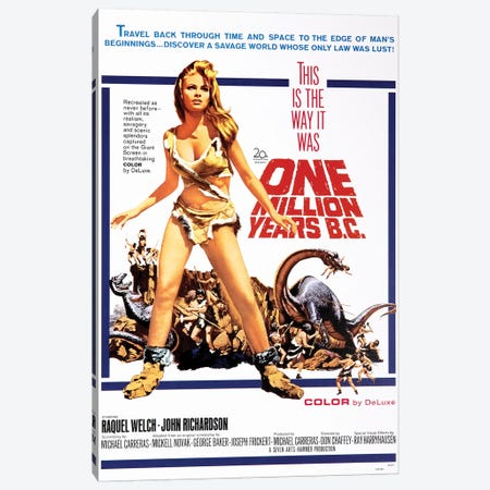 One Million Years B.C. Film Poster Canvas Print #RAD116} by Radio Days Canvas Art Print
