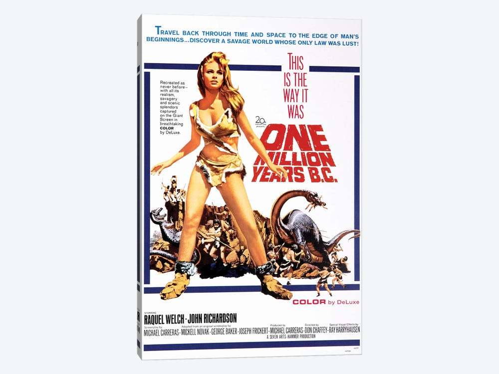 One Million Years B.C. Film Poster by Radio Days 1-piece Canvas Print