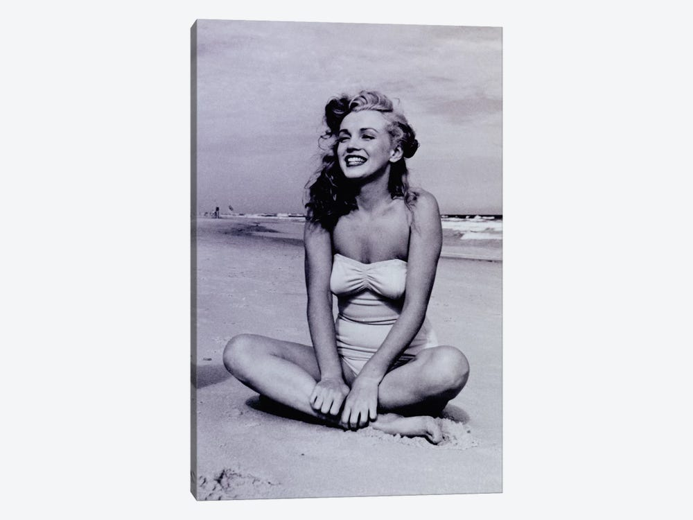 A Young, Smiling Marilyn Monroe Sitting On The Beach by Radio Days 1-piece Canvas Artwork