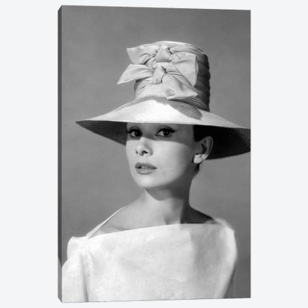 Audrey Hepburn In A Tall Two-Bowed Hat Canvas Print #RAD11} by Radio Days Canvas Print
