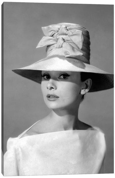 Audrey Hepburn In A Tall Two-Bowed Hat Canvas Art Print