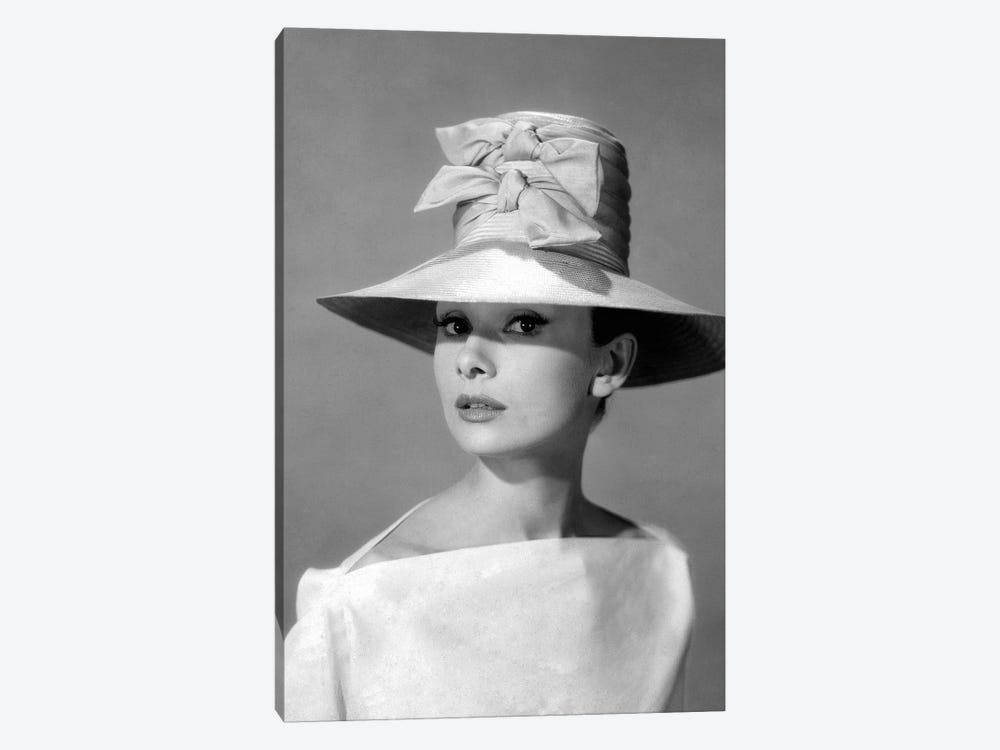 Audrey Hepburn In A Tall Two-Bowed Hat by Radio Days 1-piece Canvas Artwork
