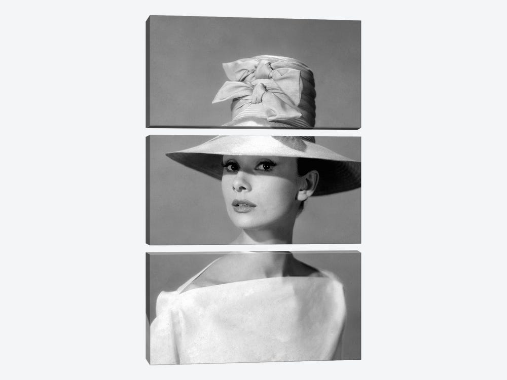 Audrey Hepburn In A Tall Two-Bowed Hat by Radio Days 3-piece Canvas Artwork