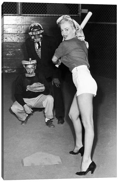 Marilyn Monroe At The Plate In Black Heels by Radio Days Canvas Art Print