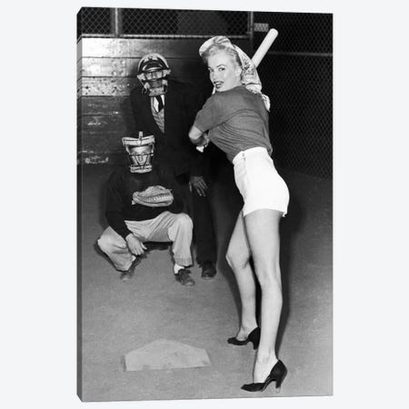 Marilyn Monroe At The Plate In Black Heels Canvas Print #RAD120} by Radio Days Canvas Print