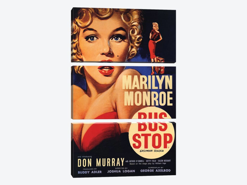 Bus Stop Film Poster by Radio Days 3-piece Canvas Art Print