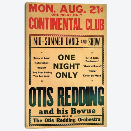 Otis Redding At The Continental Club's Midsummer Dance & Show Handbill, August 1967 Canvas Print #RAD125} by Radio Days Canvas Artwork