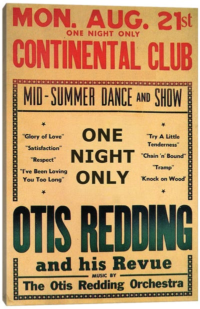 Otis Redding At The Continental Club's Midsummer Dance & Show Handbill, August 1967 by Radio Days Canvas Art Print